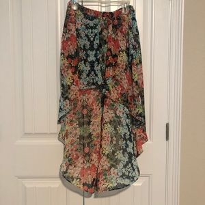 Floral high low skirt